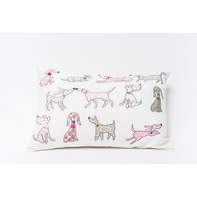 Cushion with embroidered dogs